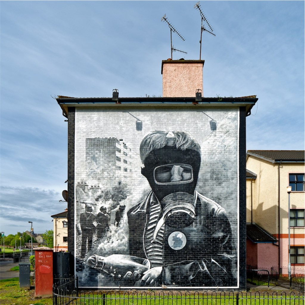 """""""The Petrol Bomber"""", as titled by the Bogside Artists. Bogside, Derry."""