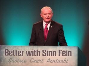Martin McGuinness addresses 2016 Sinn Fein ard fheis (Friday night) in Convention Centre Dublin