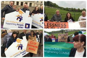 MLAs from Green and Alliance Parties greet Supporting People demonstrators at Parliament Buildings