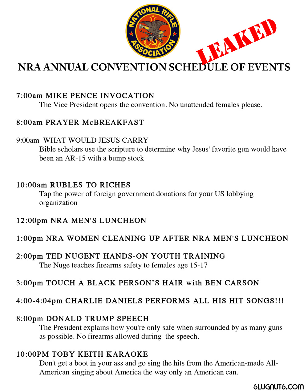 Leaked Copy of the NRA's Schedule of Events
