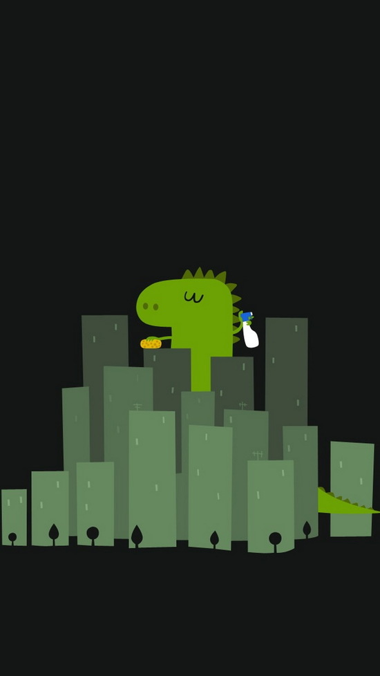 funny dinosaur cleaning buildings iphone 6 wallpaper