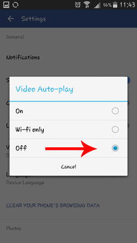 facebook app disable video autoplay