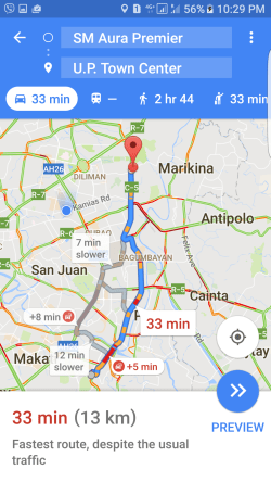 Route mapped out by Google Maps