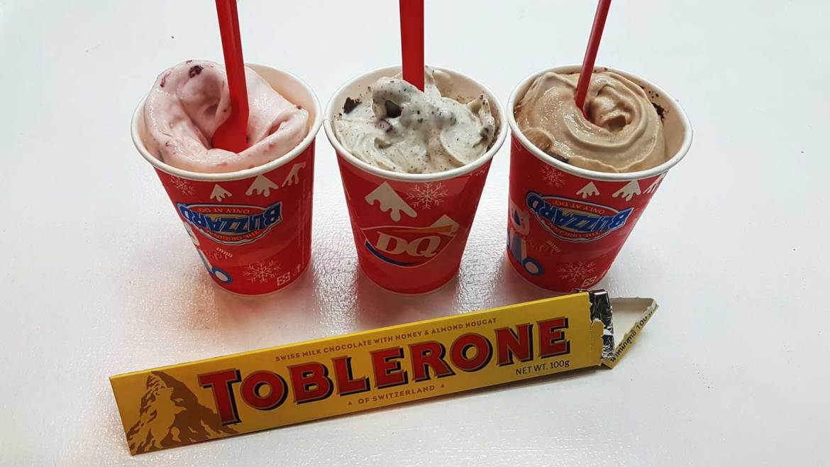 Strawberry toblerone blizzard, chocolate chip toblerone blizzard, and double fudge toblerone blizzard