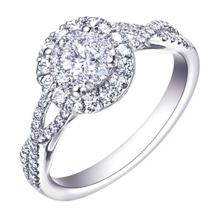 MyDiamond Dream Collection: 14K White Gold Halo Ring with 71 pieces .63 carats diamonds