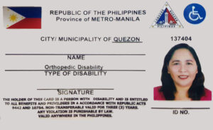 PWD ID of Quezon City with sensitive information hidden