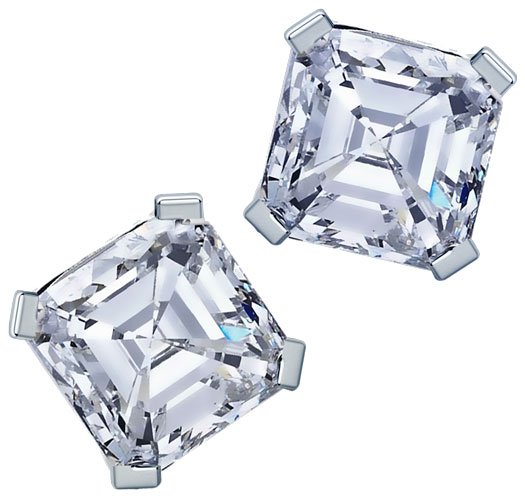 MyDiamond 18K White Gold Stud Earrings with 2 pieces Square Emerald 1.3 Carat Diamonds