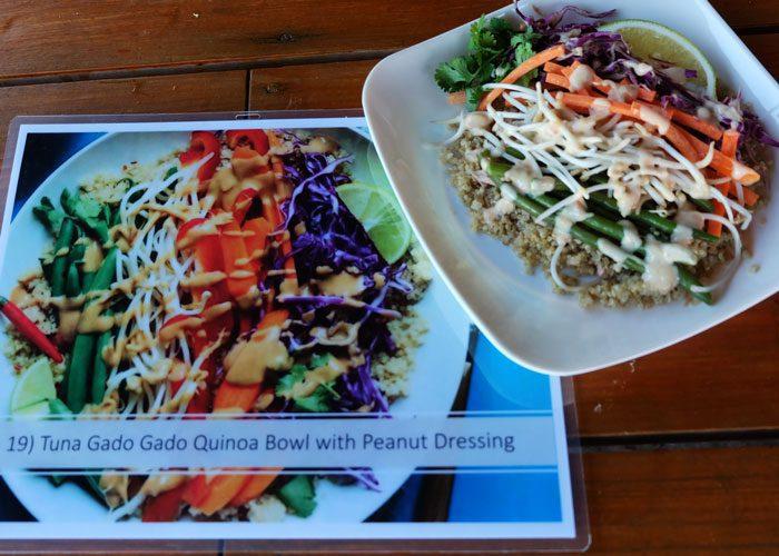 tuna gado gado quinoa bowl with peanut dressing