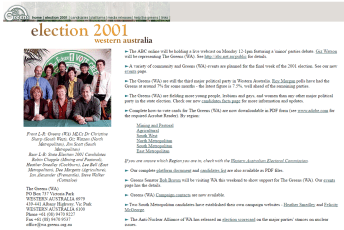 WA Greens website, 2001