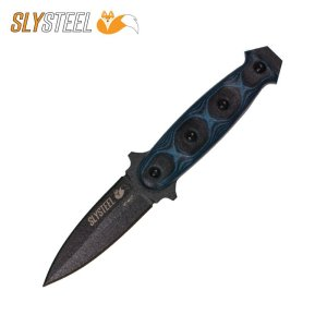 Skeletek Dagger with blue-black G10 handle boot knife for self-defense, military, and law enforcement by SLYSTEEL
