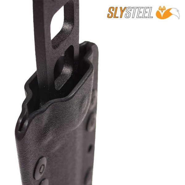 Skeletek Dagger with grip scales removed in sheath boot knife for self-defense, military, and-law enforcement by SLYSTEEL