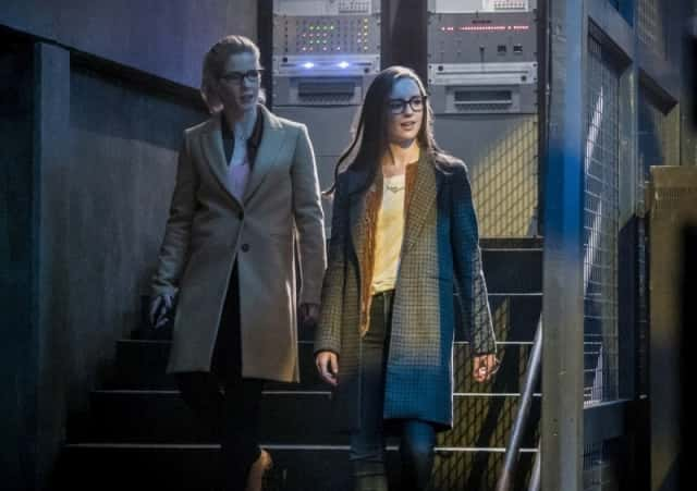 Emily Bett Rickards as Felicity Smoak and Kacey Rohl as Alena in Arrow's