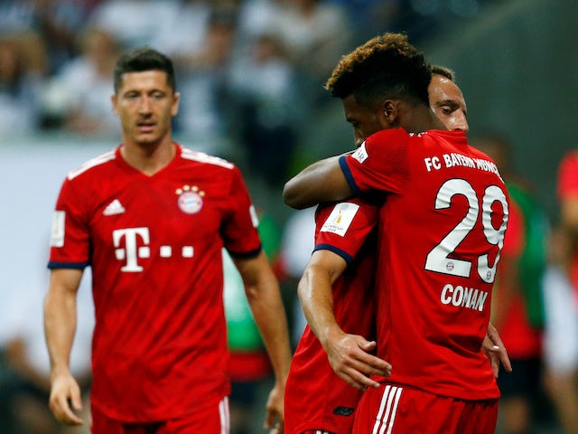 Kingsley Coman celebrates the fourth during the German Super Cup game between Eintracht Frankfurt and Bayern Munich on August 12, 2018