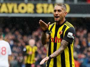 Roberto Pereyra celebrates scoring during the Premier League game between Watford and Crystal Palace on August 26, 2018