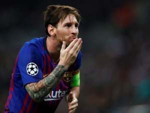 Barcelona captain Lionel Messi celebrates after scoring against Tottenham Hotspur on October 3, 2018