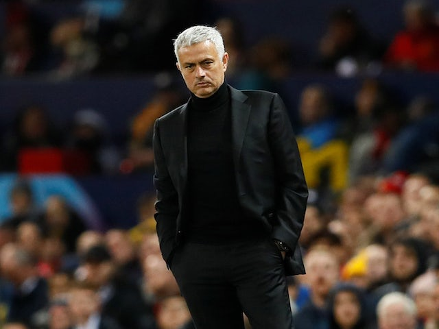 Jose Mourinho watches on during the Champions League group game between Manchester United and Juventus on October 23, 2018
