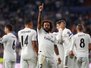 Marcelo celebrates during the Champions League group game between Real Madrid and Viktoria Plzen on October 23, 2018