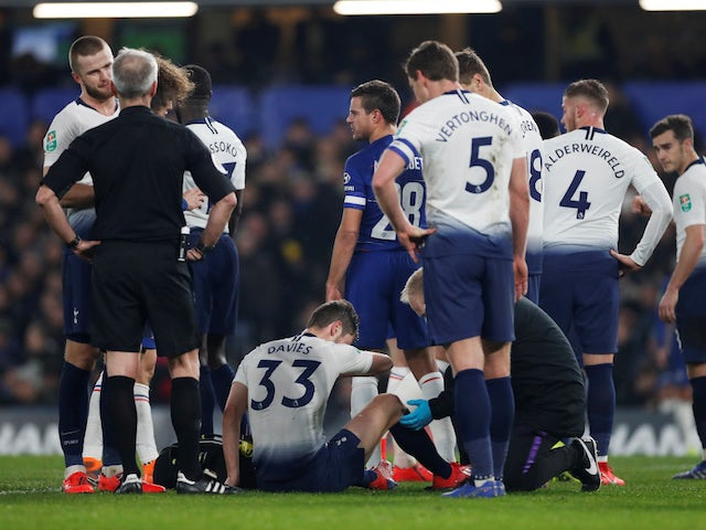 Tottenham Hotspur defender Ben Davies goes down injured against Chelsea in January 2019