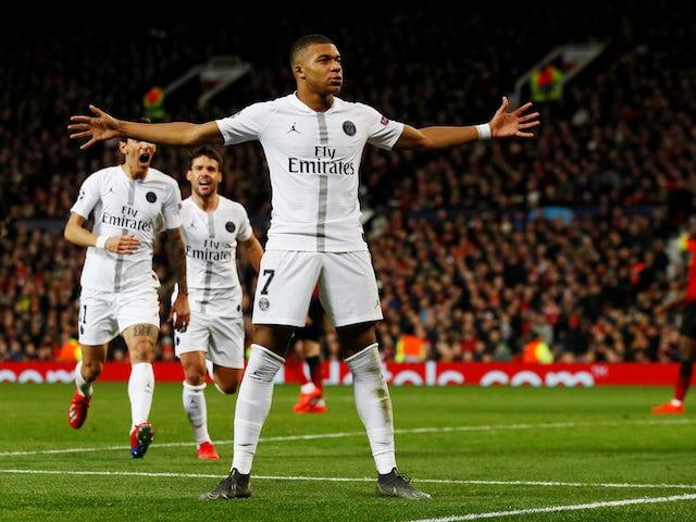 Paris Saint-Germain attacker Kylian Mbappe celebrates scoring against Manchester United on February 12, 2019