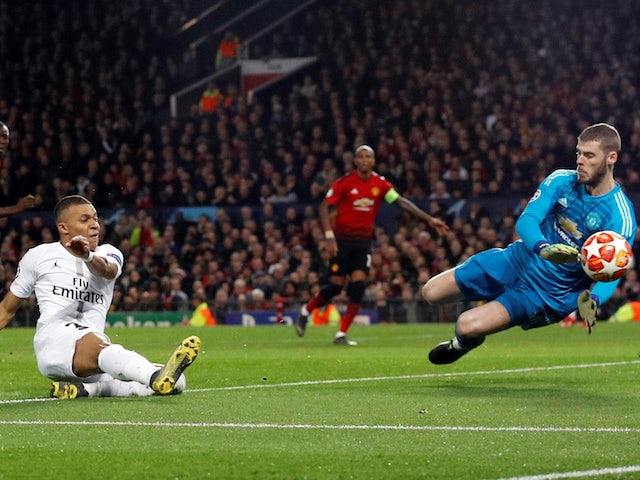 Paris Saint-Germain attacker Kylian Mbappe misses a chance during the Champions League clash with Manchester United on February 12, 2019