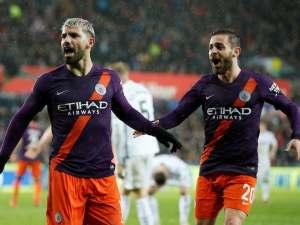 Manchester City striker Sergio Aguero celebrates scoring the winner against Swansea City on March 16, 2019