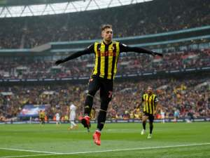 Gerard Deulofeu celebrates his second, and Watford's third, against Wolverhampton Wanderers on April 7, 2019