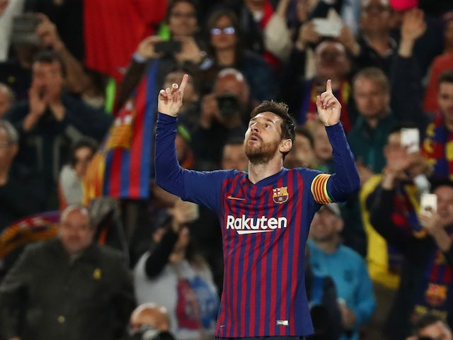 Barcelona's Lionel Messi celebrates scoring against Manchester United in the Champions League on April 16, 2019