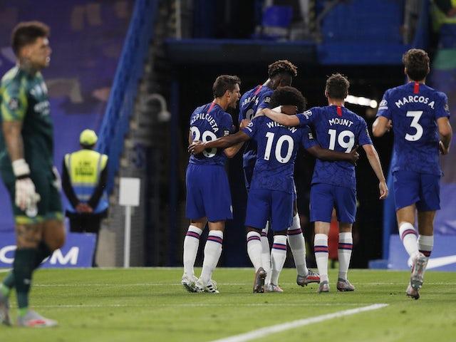 Chelsea players celebrate Willian's goal against Manchester City on June 24, 2020