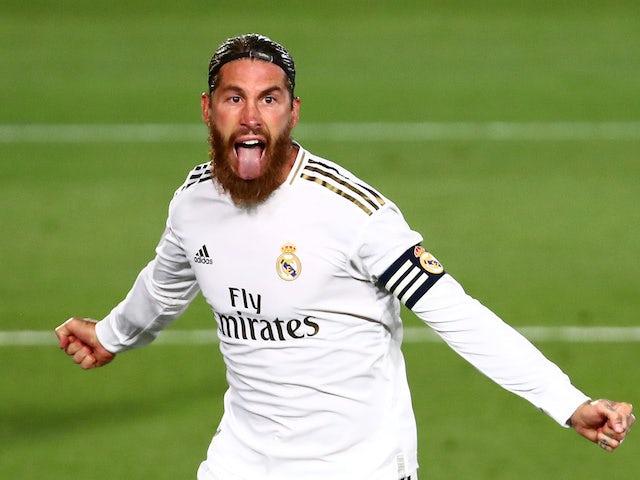 Menacing Real Madrid skipper Sergio Ramos celebrates on July 2, 2020