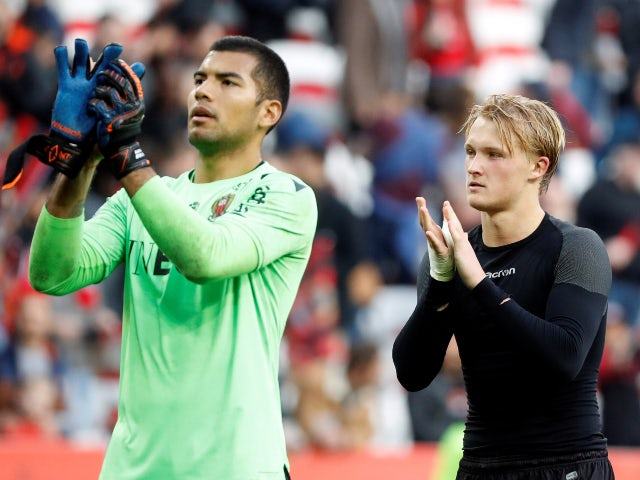 Nice teammates Walter Benitez and Kasper Dolberg pictured in February 2020