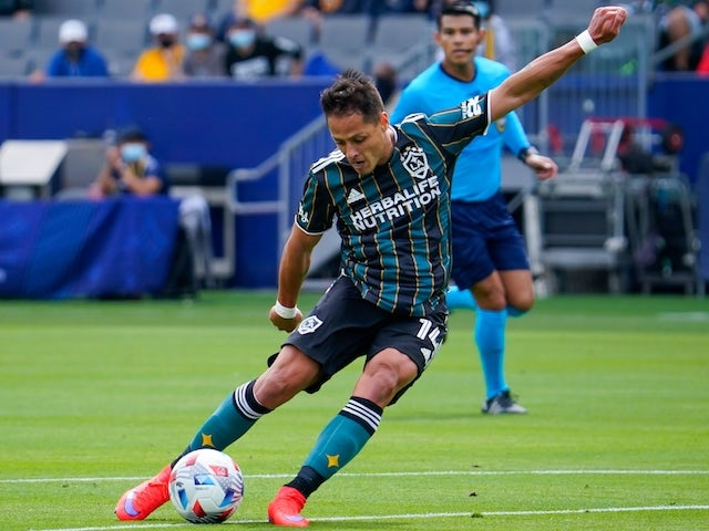 Los Angeles Galaxy forward Javier Hernandez (14) takes a shot during the first half against the New York Red Bulls at Dignity Health Sports Park on April 25, 2021