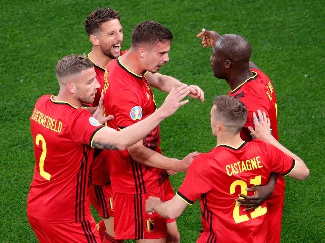 Belgium's Romelu Lukaku celebrates scoring their first goal against Russia at Euro 2020 on June 12, 2021