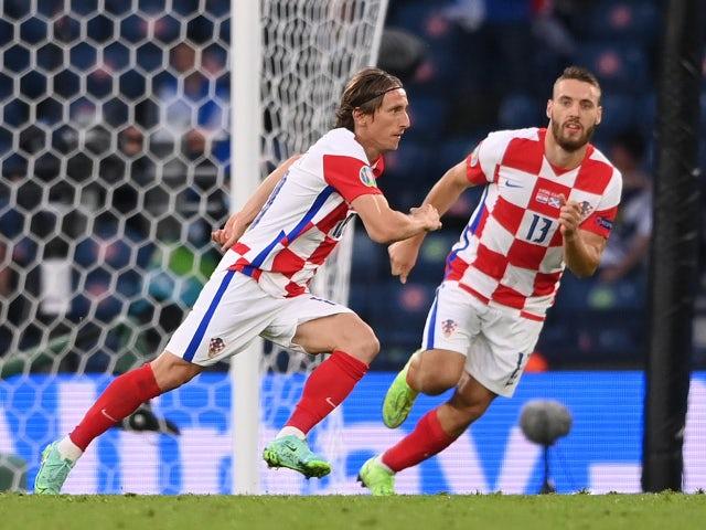 Luka Modric celebrates scoring for Croatia against Scotland at Euro 2020 on June 22, 2021