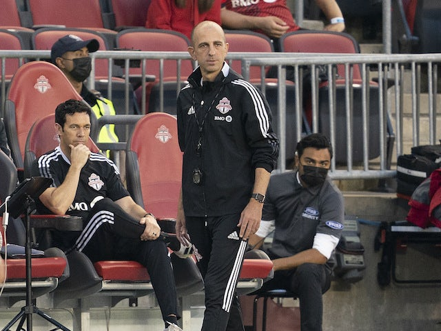 Toronto FC interim head coach Javier Perez looks on during the first half against New York City FC at BMO Field on August 7, 2021