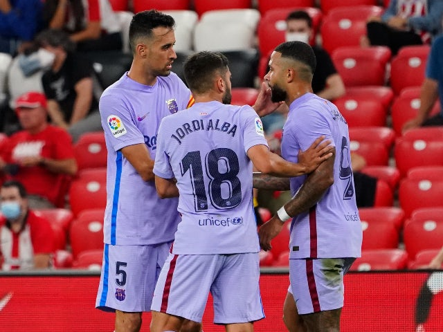 FC Barcelona's Memphis Depay celebrates scoring their first goal against Athletic Bilbao in La Liga on August 21, 2021