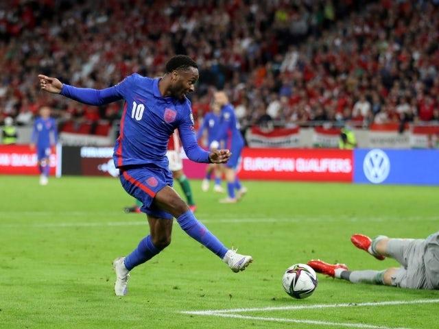 England's Raheem Sterling shoots at goal against Hungary on September 2, 2021