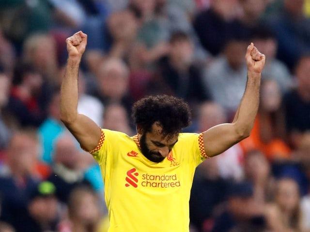 Liverpool's Mohamed Salah celebrates scoring against Brentford in the Premier League on September 25, 2021