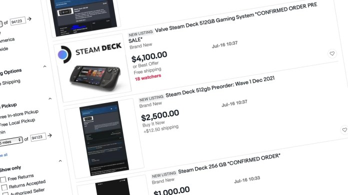 a steam deck for 4000 scalpers hit pre orders for valves han j2zq.1920 9to5game