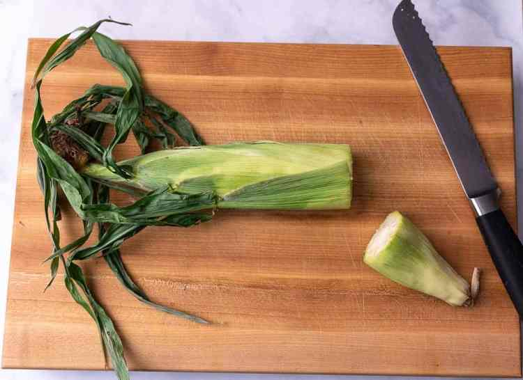 The stem part of corn on the cob cut off.