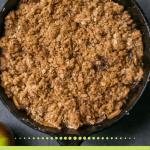 Pinterest graphic for cast iron apple crisp recipe.