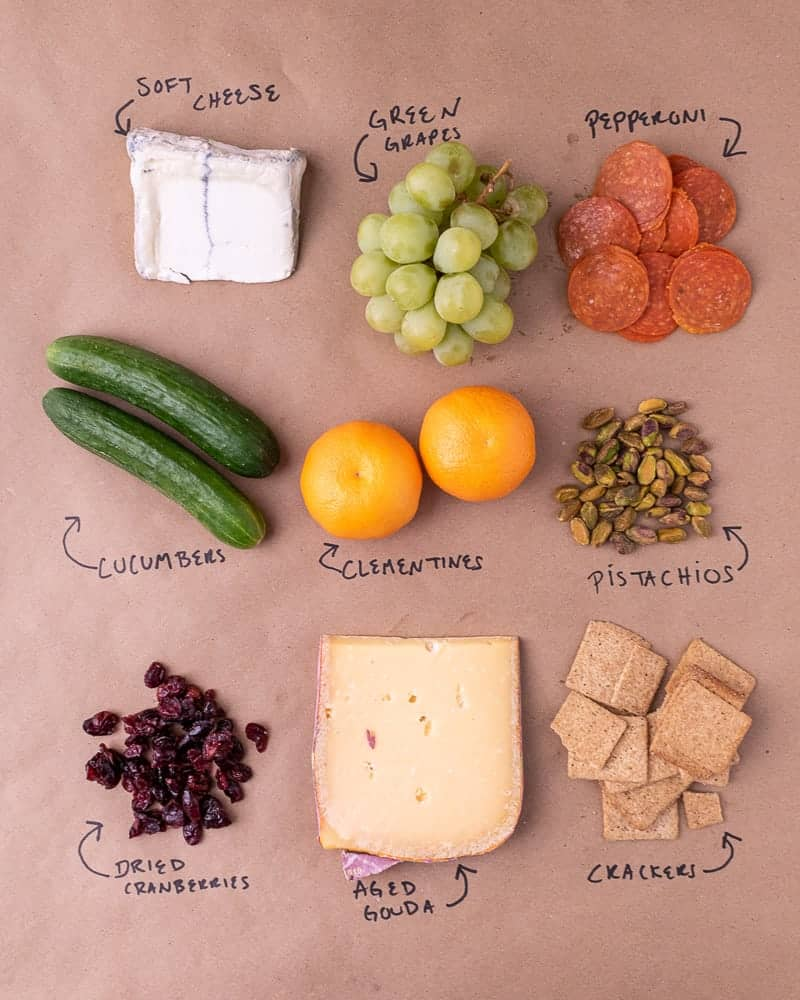 Cheese plate ingredients laid out on a brown parchment paper, labeled in sharpie. Soft cheese, green grapes, pepperoni, cucumbers, clementines, pistachios, dried cranberries, aged gouda and crackers