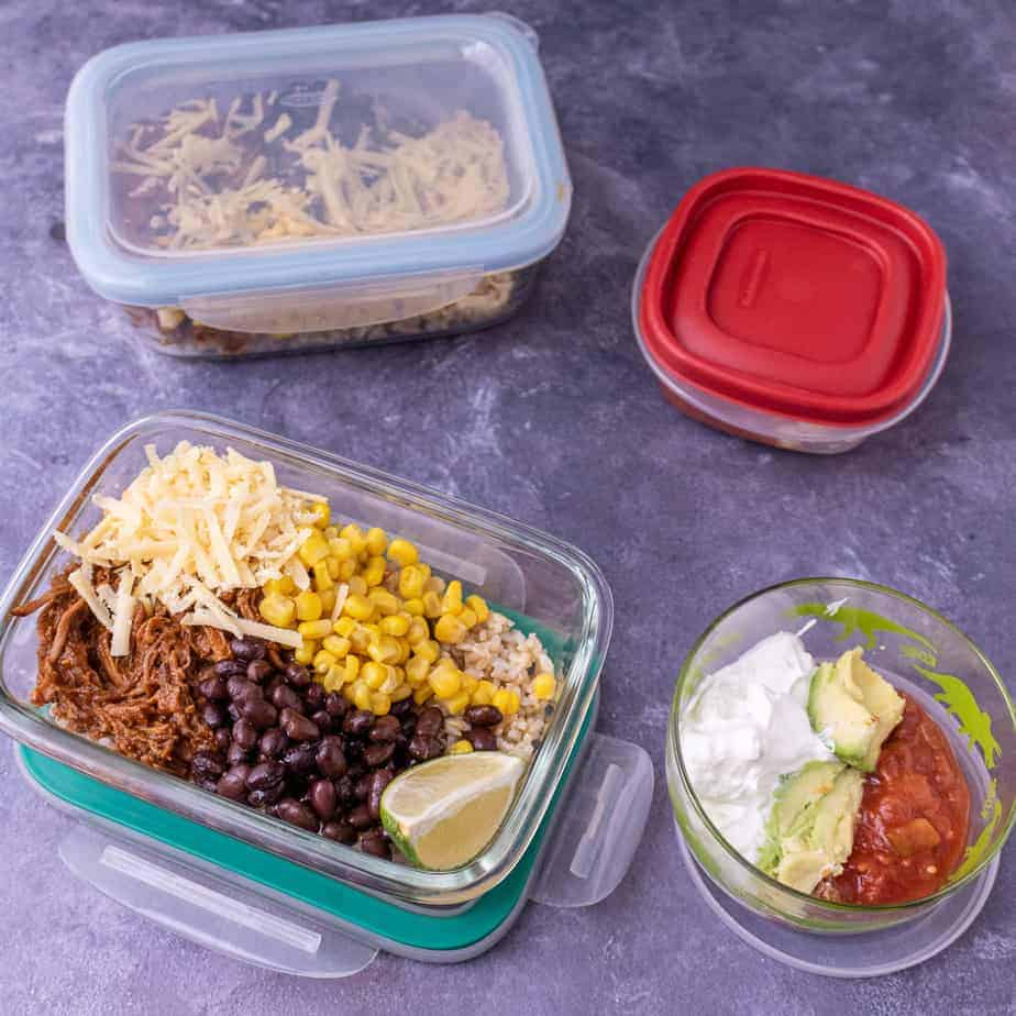 2 burrito bowl bases with 2 sets of toppings