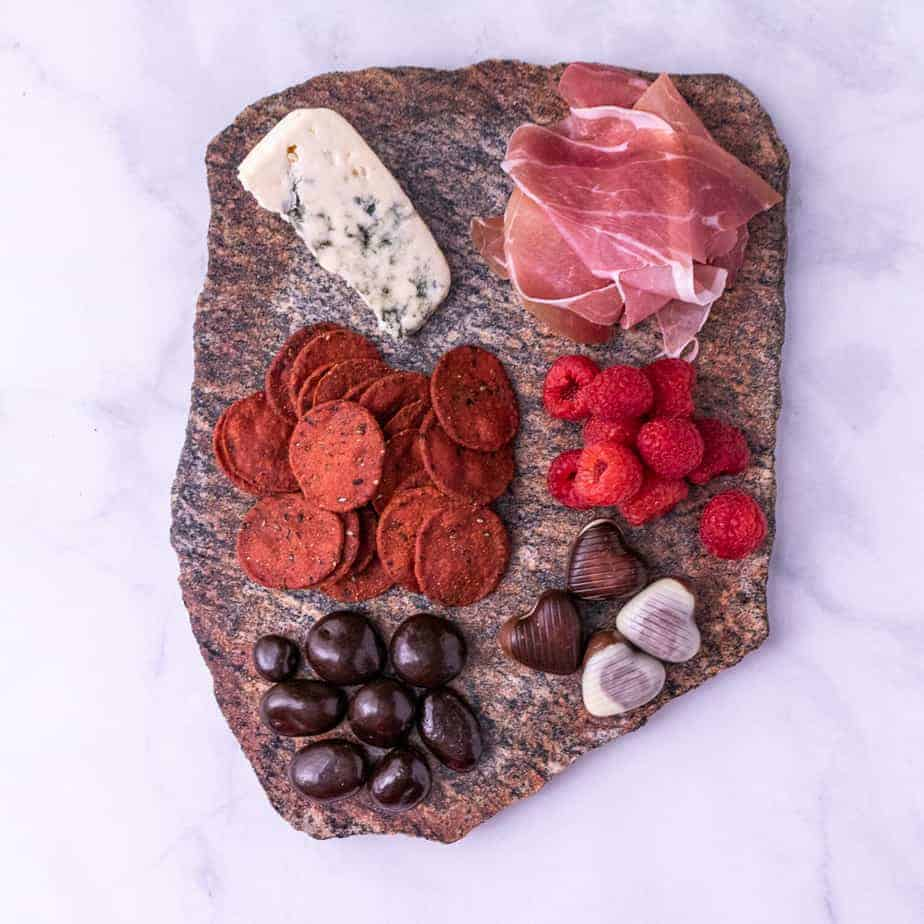 Finished Valentine's Day Cheese Plate photo.