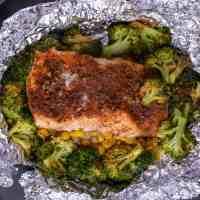 Air Fryer Cajun Salmon Foil Packets