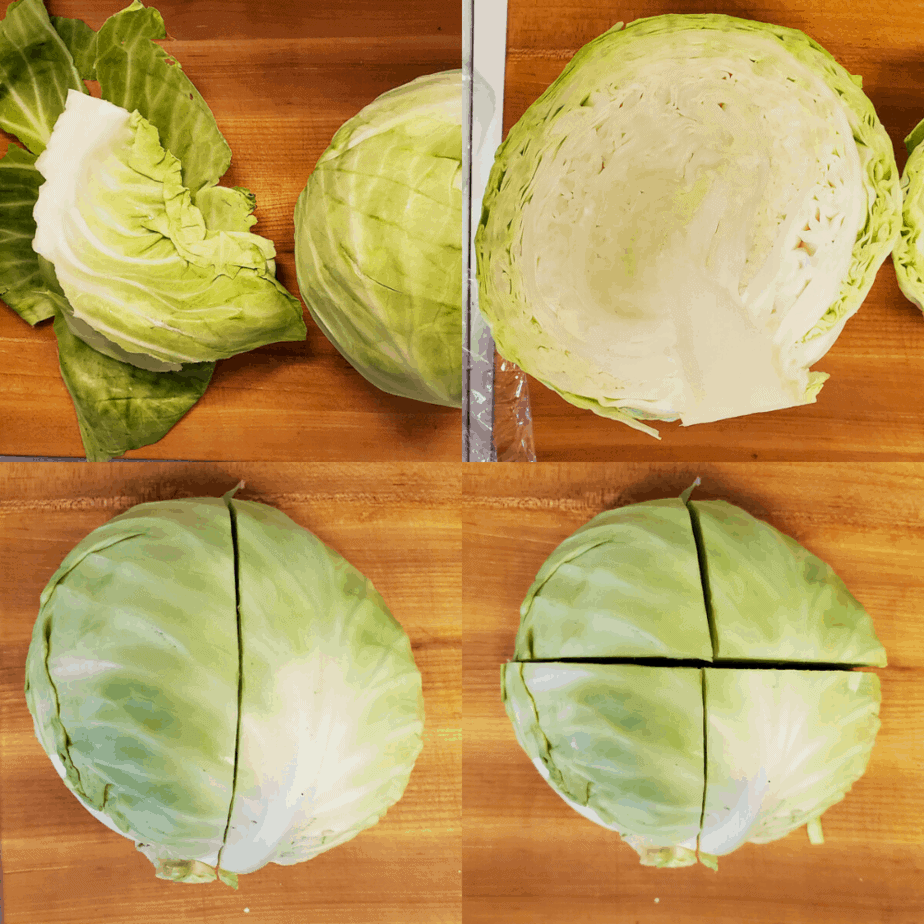 Process photograph on how to cut and prep the cabbage.