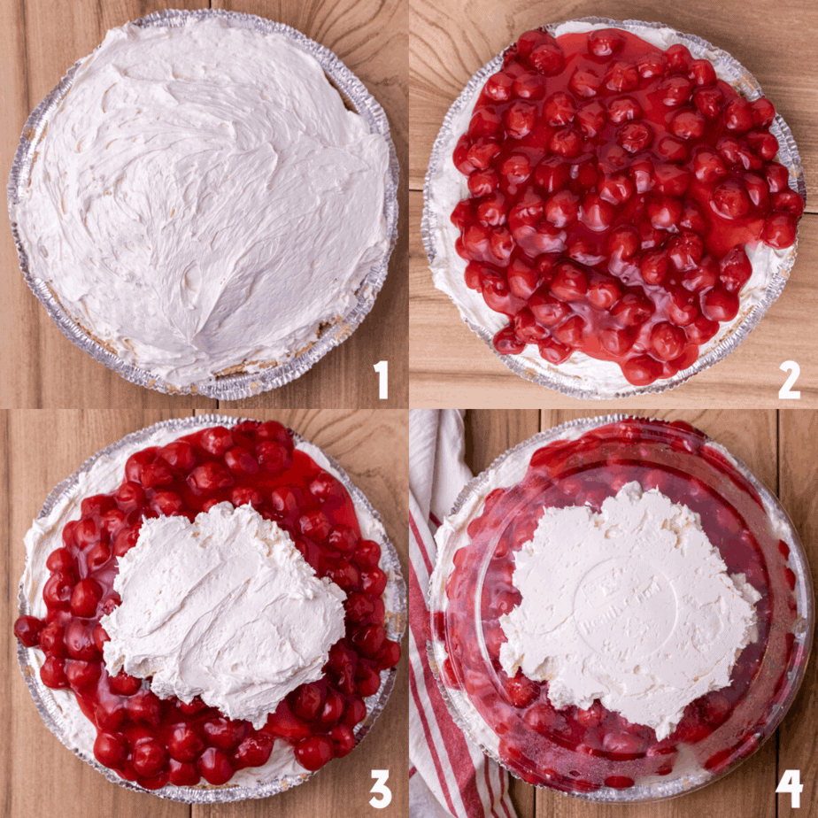 Process photos on how to layer the cherry pie.