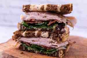 Air Fryer Turkey, Goat Cheese and Pesto Sandwich