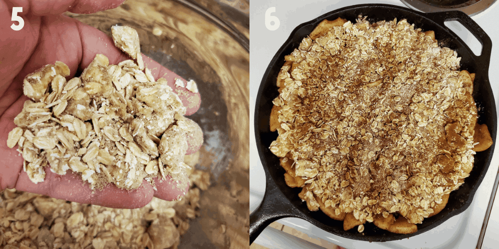 1x2 photo collage of process steps. 1) A close up of crumble 2) Apple crisp in pan unbaked.