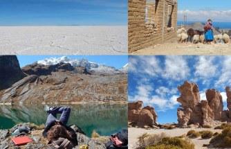 Salar de Uyuni, Unyuni, Potosi, plaza de 10 Noviembre, Sucre do Santa Cruz, La Paz, Tarabuko, Coroico, Cochabamby, jezioro Titikaka, Copacabany, Puno w Peru, Bożena Sanetra Fernandez