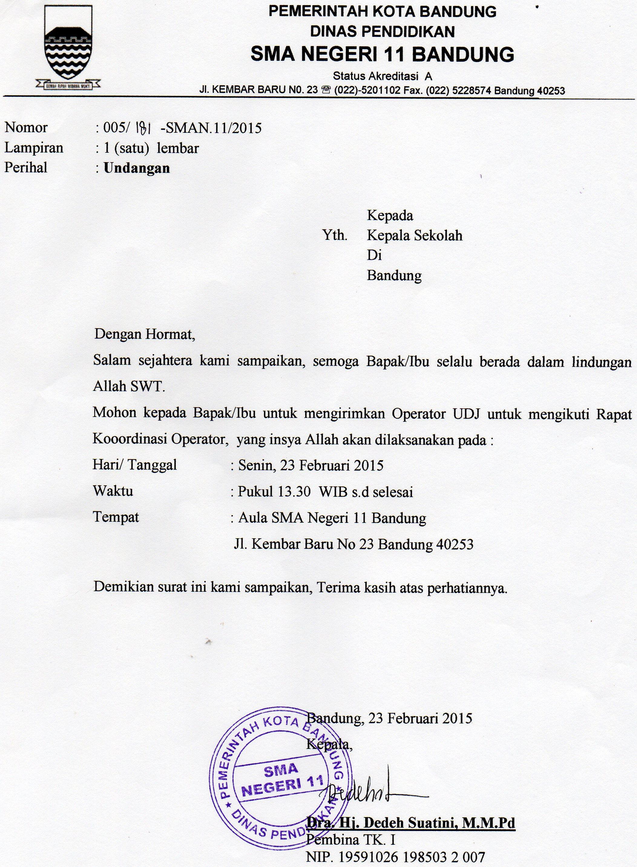 Surat Undangan Rapat Koordinasi Operator Sma Digital Kota Bandung